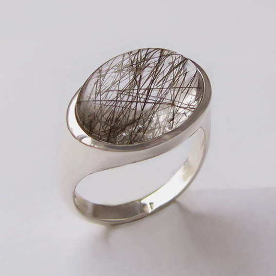 Кольцо с рутиловым кварцем, арт.КОВ312