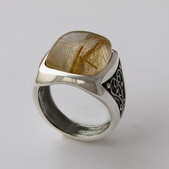 Кольцо с золотистым кварцем, арт.ПКВК315