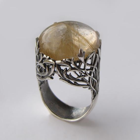 Кольцо с золотистым кварцем, арт.ЛИК3