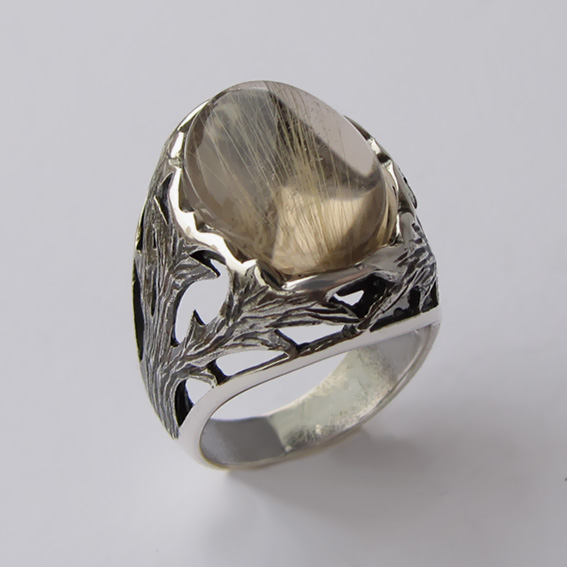 Кольцо с золотистым кварцем, арт.ЛИН312