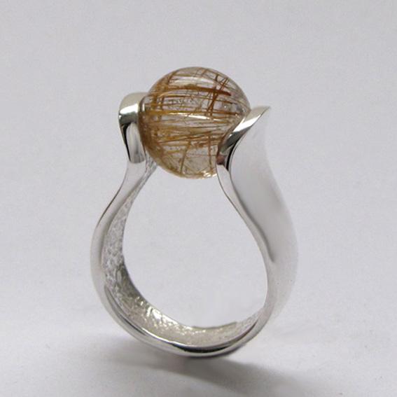 Кольцо МРС3 с золотистым кварцем