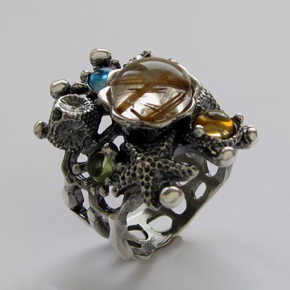 Кольцо с золот.кварцем, цитрином, топазом, хризолитом, арт. МЗ3
