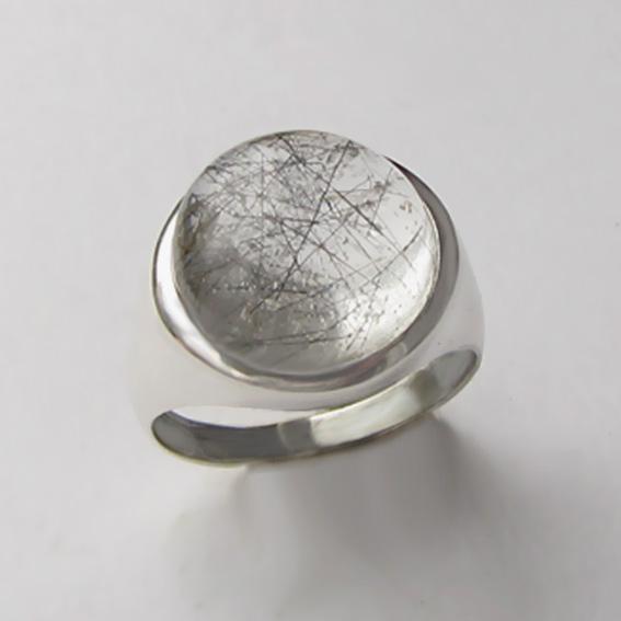 Кольцо с рутиловым кварцем, арт.НКН313