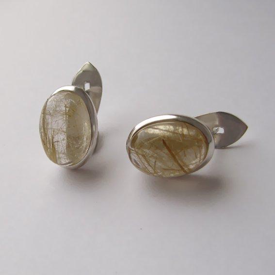 Серьги с золотистым кварцем, арт. ОВ410П
