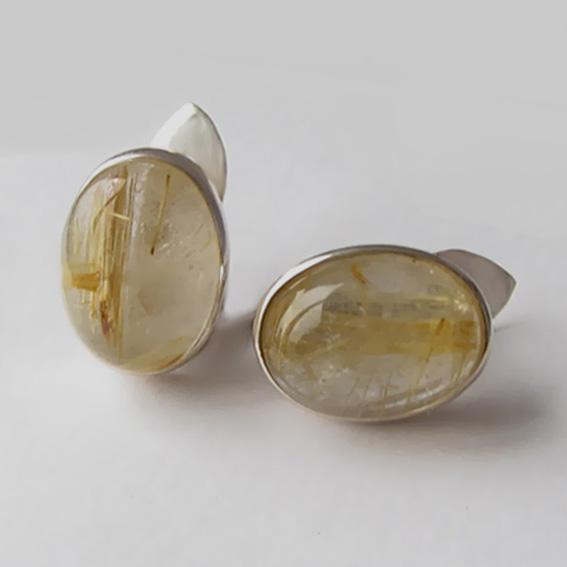 Серьги с золотистым кварцем, арт.ОВ412П