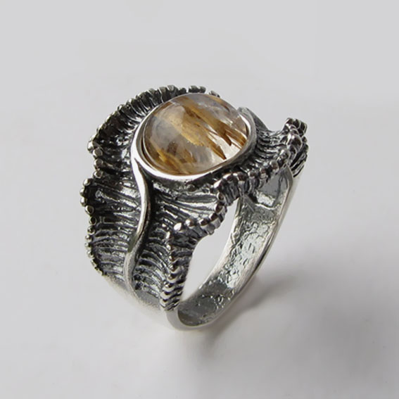 Кольцо с золотистым кварцем, арт. ВОЛ32