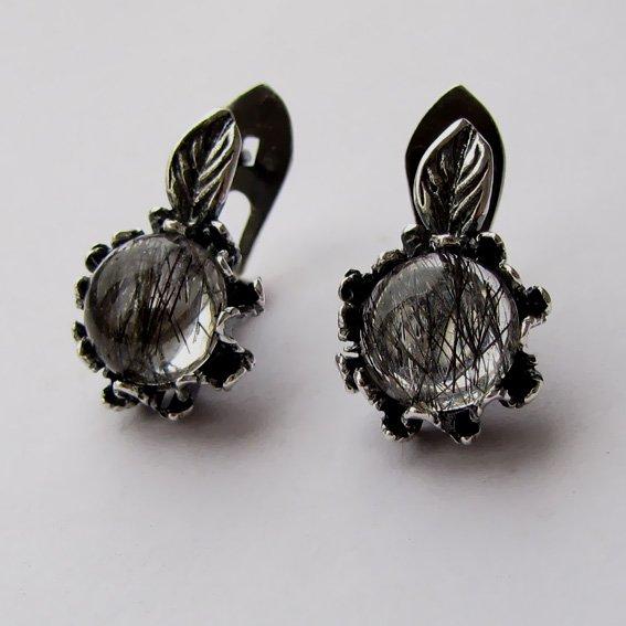 Серьги из серебра с рутиловым кварцем, арт. ПШ4П
