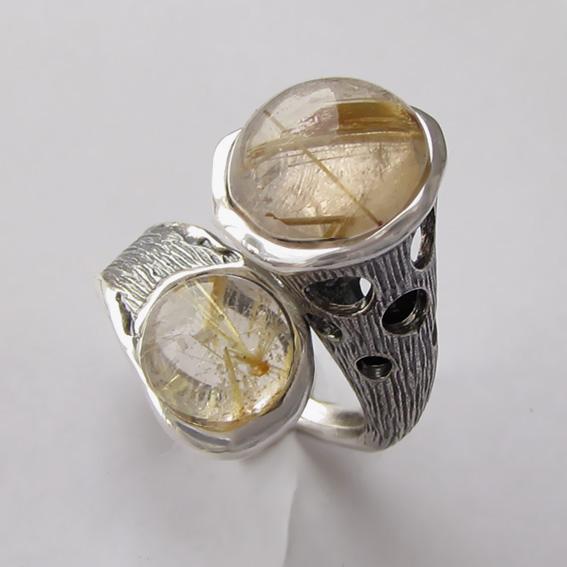 Кольцо с золотистым кварцем, арт. Ш3