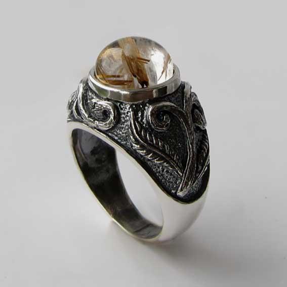Кольцо с золотистым кварцем, арт. ШАХ3М