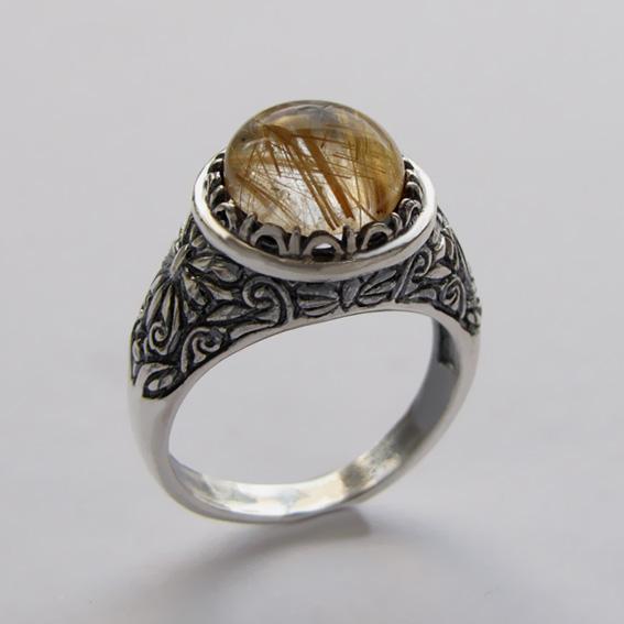 Кольцо с золотистым кварцем, арт.ТЕРН3
