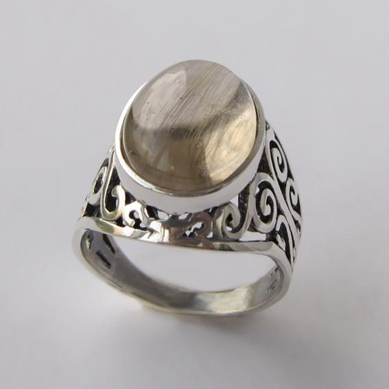 Кольцо с золотистым кварцем, арт.УР3