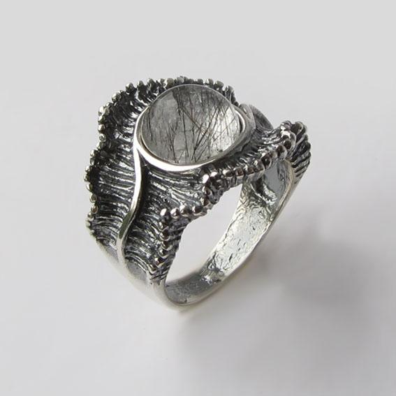 Кольцо с рутиловым кварцем, арт. ВОЛ32