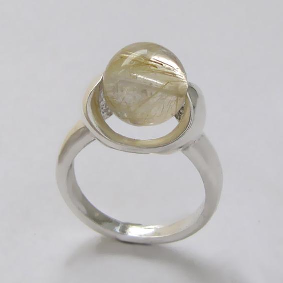 Кольцо ВРШ3  с золотистым кварцем