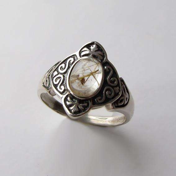 Кольцо с золотистым кварцем, арт. КОК3