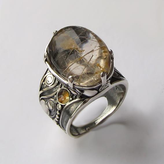 Кольцо с золотистым кварцем, арт. ПЕОР3