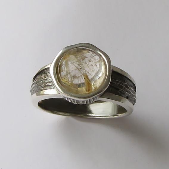 Кольцо с золотистым кварцем, арт. ПФ39