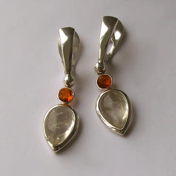 Серьги с золотистым кварцем, янтарем, СЛК48