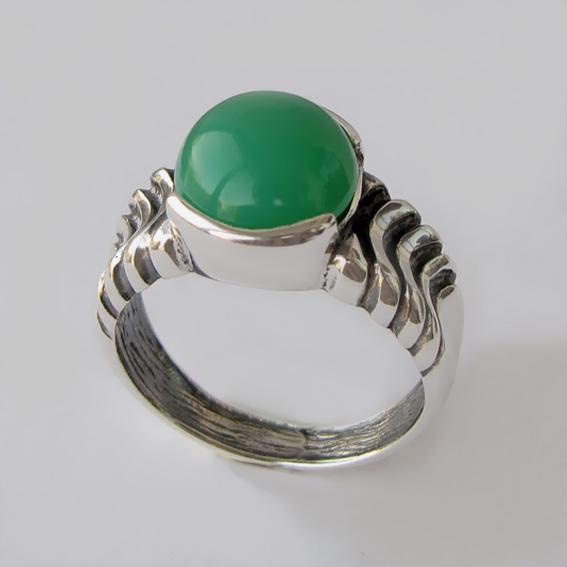 Кольцо с хризопразом ЧЕШ3, серебро 925