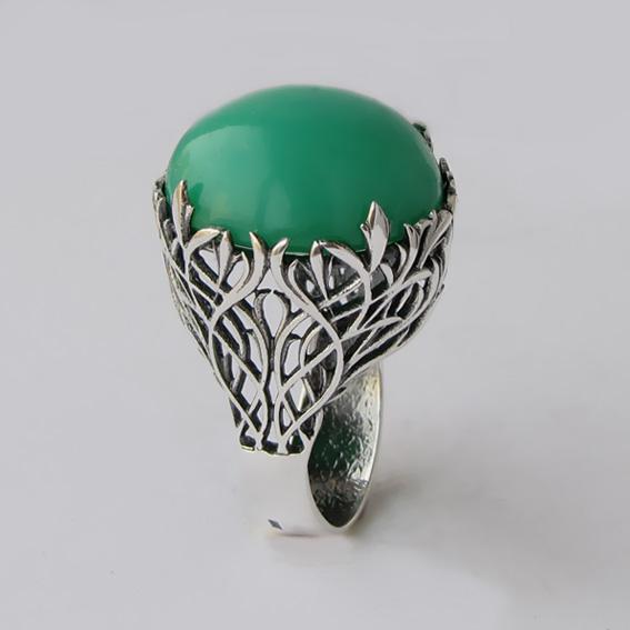 Кольцо с хризопразом, арт. ЛИ315