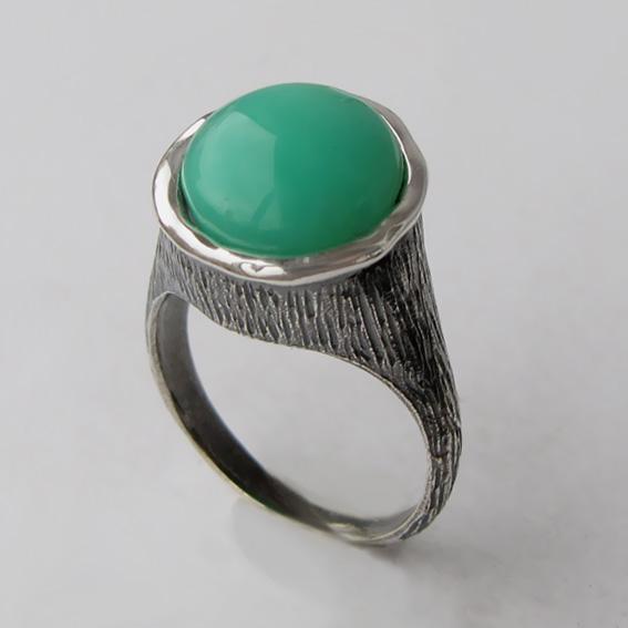 Кольцо с хризопразом, арт. ПЕ3Н