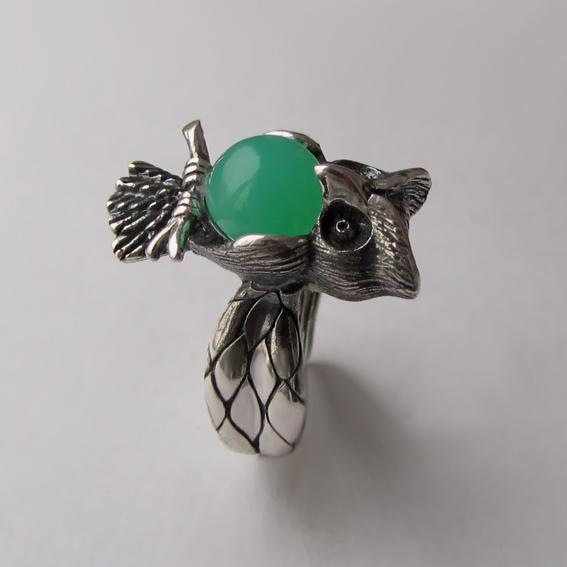 Кольцо с хризопразом, арт. ФИЛ3