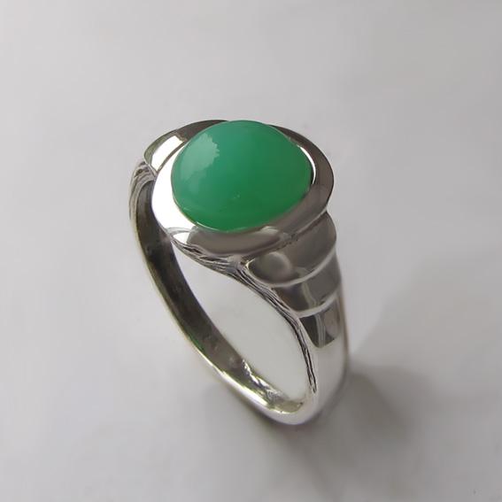 Кольцо с хризопразом ОВН37, серебро 925
