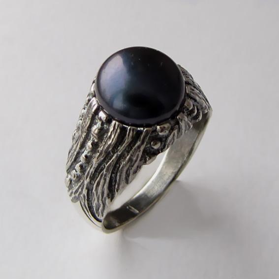 Кольцо с жемчугом черным, арт. ЭТ32