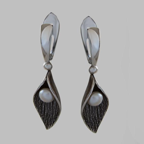 Серебряные серьги с жемчугом, ЛИС4