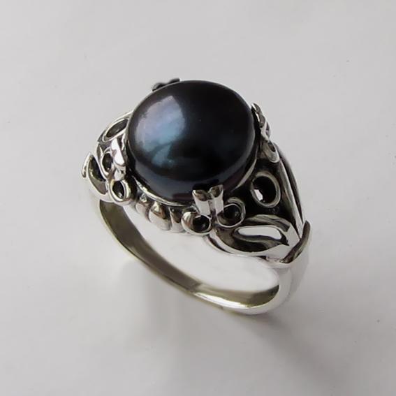 Кольцо с жемчугом черным, арт. ЕФ3