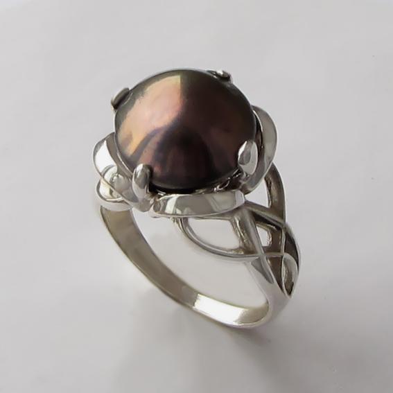 Кольцо с жемчугом коричневым, арт. П33