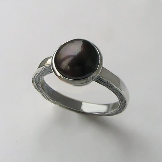 Кольцо с жемчугом темно-коричневым, арт. ПФ38