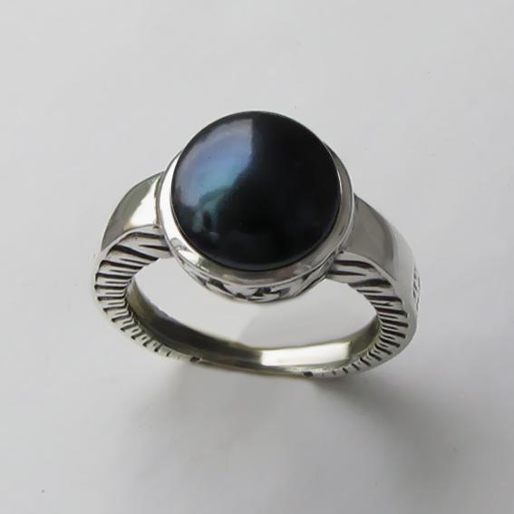 Кольцо с жемчугом черным, арт. СКИФ3